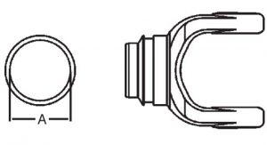 PTO Tube Weld Yoke Domestic 55 Series Fits 2-1/2 inch Round Tube, 7045500