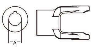 PTO Implement Yoke Domestic 14 Series 1-1/8 inch Round Bore, 8001418
