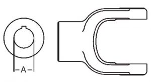 PTO Implement Yoke Domestic 44 Series 1-7/16 inch Round Bore, 8004423