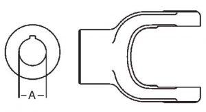 PTO Implement Yoke Domestic 44 Series 1-1/2 inch Round Bore, 8004424