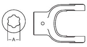 PTO Implement Yoke Domestic 44 Series 1-3/8 inch - 6 Spline Bore, 8014406