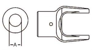 PTO Implement Yoke Domestic 14 Series Shear Pin Yoke 1-1/8 inch, 8021418