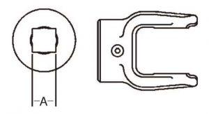 PTO Implement Yoke Domestic 6 Series Square Bore Yoke 7/8 inch, 8040614