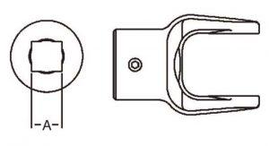 PTO Implement Yoke Domestic 12 Series Square Bore Yoke 1-1/8 inch, 8041218