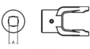 PTO Implement Yoke Domestic 14 Series Square Bore Yoke 7/8 inch, 8041414