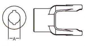 PTO Implement Yoke 6 Series Round Bore Double Keyway Yoke 1inch, 8060616