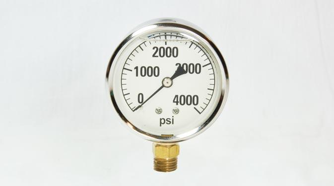 4 000psi Glycerin Filled Gauge 2 1 2 Face 1 4 Mpt Bottom Mount on Liquid Filled Pressure Gauge