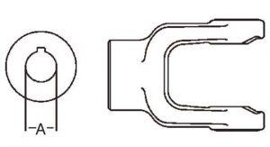 PTO Implement Yoke Domestic 6 Series 1-1/8 inch Round Bore, 8000618