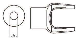 PTO Implement Yoke Domestic 12 Series 1-3/16 inch Round Bore, 8001219