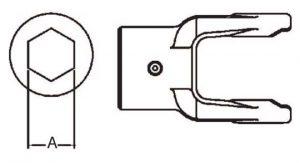 PTO Implement Yoke Domestic 14 Series Hex Bore Yoke 1-1/8 inch, 8051418