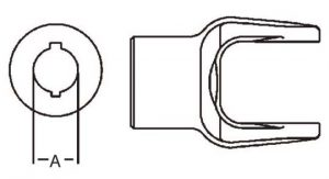 Implement Yoke 12 Series Round Bore Double Keyway Yoke 1-1/8 inch, 8061218