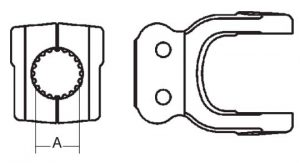 Implement Yoke Domestic 44 Series Clamp Yoke 1-3/4 inch - 20 Spline, 8074420