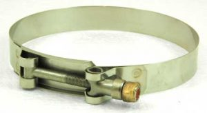 Stainless Steel T-bolt hose clamp, 4-1/2in - 4-13/16in, TB450