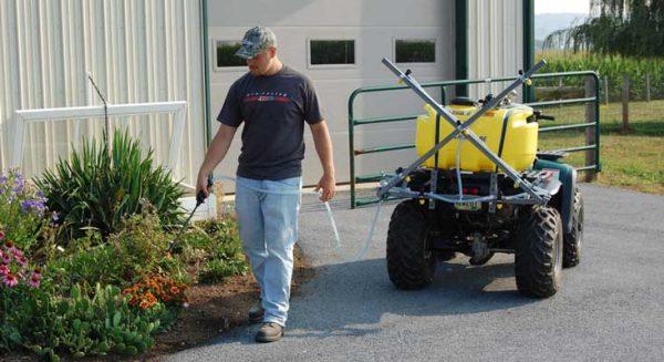 25 gallon ATV sprayer with spray hose - 12 foot boom shown